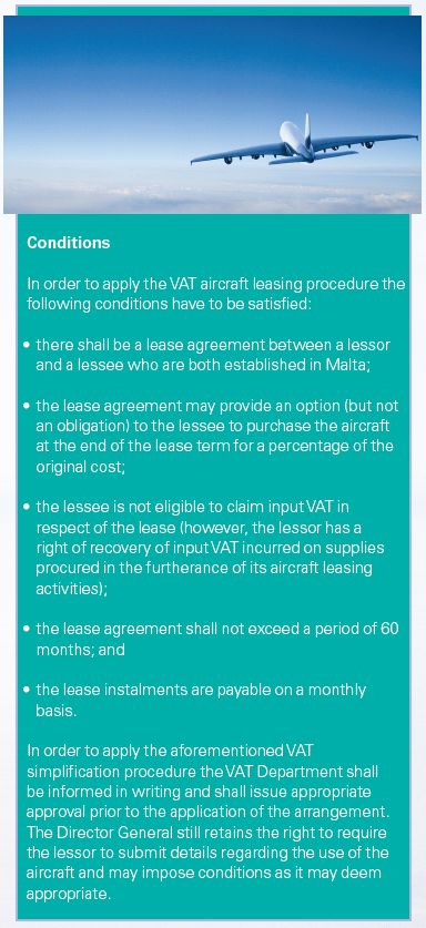 Vat On Aircraft Leasing Arrangements Tax Malta