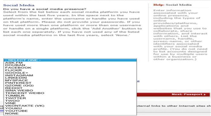 Consular Electronic Application Forms Add Social Media